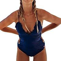 a4fda296dba7e Ropa de baño Mujer Espalda Abierta con Cordones Mono Color Sólido  Fluorescencia POLP Camisolas Bikinis Tallas