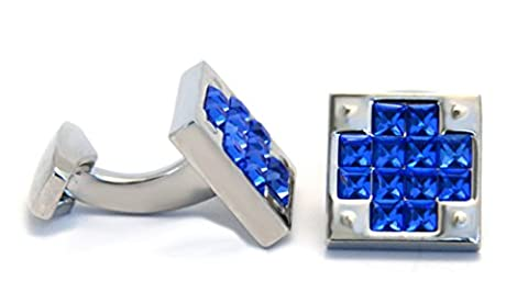 Royal Blue Crystal Silver Square Cufflinks with Black Croc Gift Box