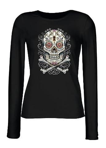 langarm Shirt Damen Tag der Toden Totenkopf Floral skull Blumen Sugar Skull Tattoo feminines Shirt Gr. XL : (James Bond 007 Kostüme)