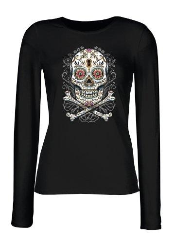 Langarm Shirt Damen Tag der Toden Totenkopf Floral Skull Blumen Sugar Skull Tattoo Feminines Shirt Gr. XL : (Muertos Los De Weibliche Kostüme Dia)