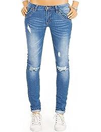 Bestyledberlin Damen Skinny Fit Röhrenjeans, Enge Destroyed Style Skinnyjeans, Zerrissene stretchige Jeans j15k