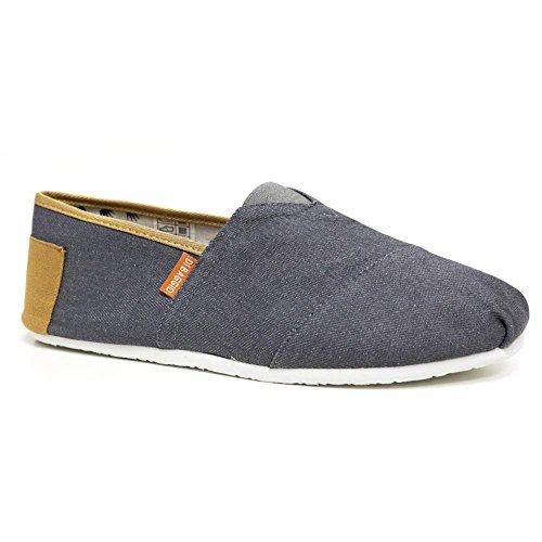 Di Baggio Mens Leather Insole Espadrilles Canvas Slip On Summer plimsolls Plimsoles Pumps Deck Two Tone Shoes Size (8 UK, S1 - Grey)