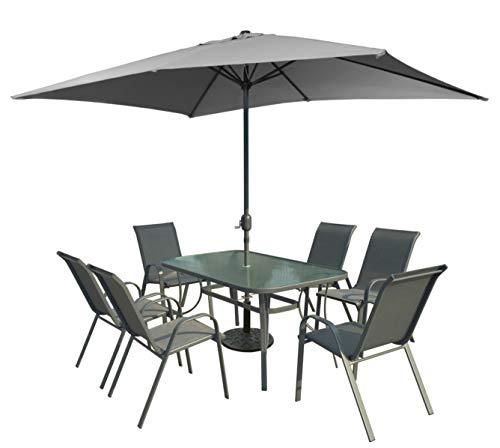 XONE Set Riccione con ombrellone, Tavolo e 6 sedie in Acciaio e textilene 2x1   Set Giardino con ombrellone 2x3 in Poliestere