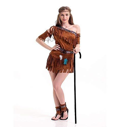 Fashion-Cos1 Performance Kleidung Halloween Kostüm Frauen Cosplay Native Kleidung Prinzessin Rock Tribal Primitive Kleidung (Frauen Nativen Prinzessin Kostüm)