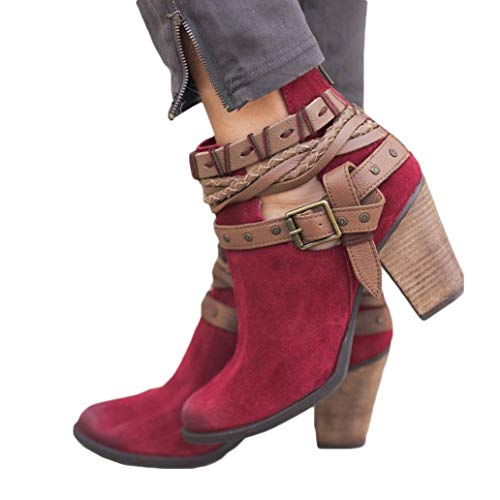 VJGOAL Damen Stiefel, Damen Mode Boho Party Hochzeit Niet Herbst Winter Keile Gewebte Schuhe Schnalle Ferse Stiefelette Stiefel (Rot, 41 EU)