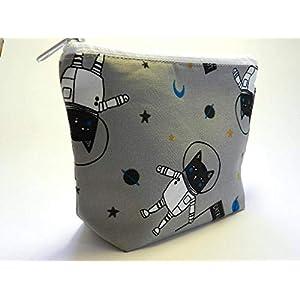 Kosmetiktasche aus Stoff - KATZE IM ALL/CAT IN SPACE - waschbar - für Schminke/Make-Up/Stifte / Kabel - Geschenk Weihnachten Geburtstag - Kabeltasche/Schminktäschchen / Schminktasche