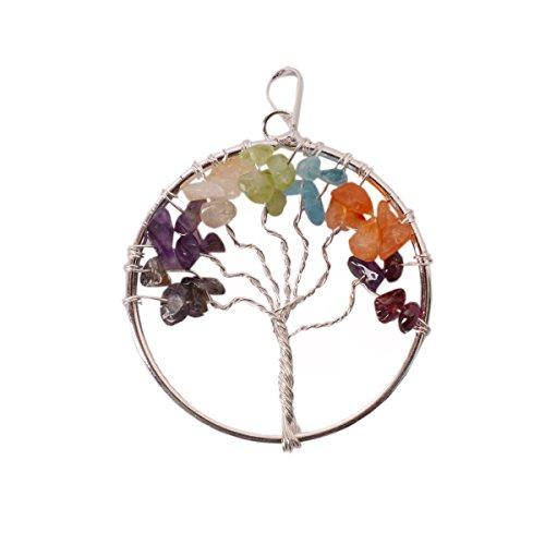 purpledip Baum des Lebens Sieben Chakra Edelstein Anhänger: Einzigartiges Geschenk Gor Mädchen mit Heilung Steine (11049)