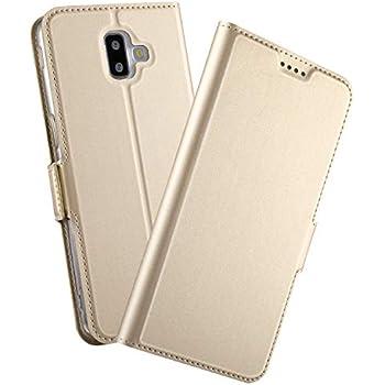 e0f1c2851e9 Samsung Galaxy J6 Plus Case, Ultra-Slim Premium PU Leather Wallet Case  [Card Slot] [Foldable Stand] [Magnetic Closure] Folio Flip Cover for  Samsung Galaxy ...