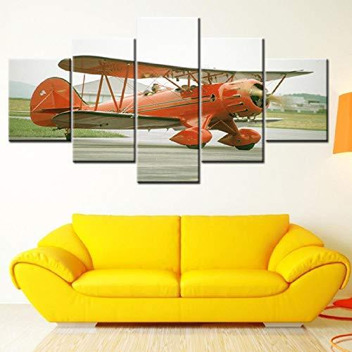 Xzfddn Leinwand Malerei Hd Uk Flugzeug Bild 5 Stücke Wandkunst Malerei Modulare Tapeten Poster Drucken Wohnkultur-40X60/80/100Cm,With Frame