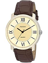 Frosino Mens Fashion Analog Quartz Watch with Brown Faux Leather Band Unique Big Face Number Retro Casual Wrist Watches Classic Business Wristwatch- Silver Brown - FRAC101829