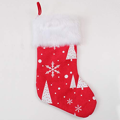 Deggodech Weihnachtsstrumpf Groß Weihnachten Strumpf Beutel Nikolausstiefel Befüllen Rot Weihnachtsstrümpfe Socken Weiß Schneeflocke Christmas Stockings Hängen Weihnachtssocken Kamin Deko