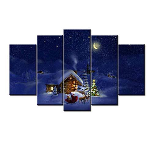Soggiorno camera da letto per lo studio corridoio corridoio piccola luna piena pupazzo di neve moon hut 5 pannello frameless wall painting