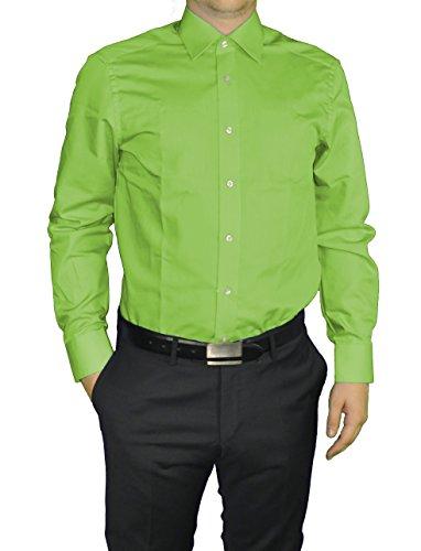 Redmond - Body Cut - Bügelfreies Herren Langarm Hemd in verschiedenen Farben (150110) Grün(601)