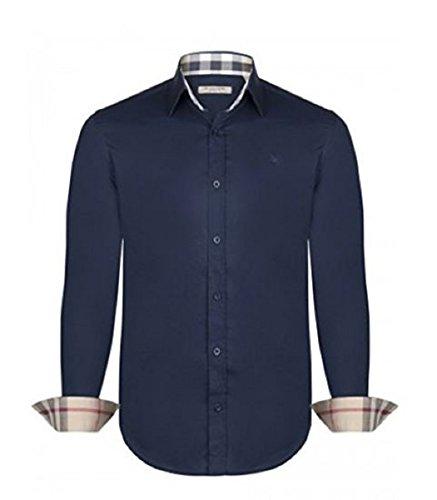 Burberry camicia uomo/mens brit classic fit (medium, navy)