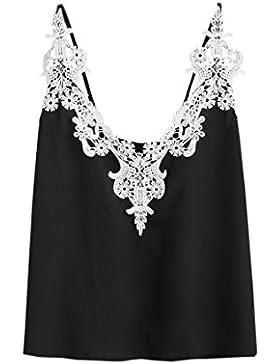 OverDose Damen Lace Chiffon Vest Top Sleeveless Casual Tank Blouse Summer Tops T-Shirt Spitze Weste Sommer Blusen