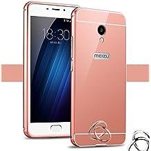 PREVOA Meizu M5 Note - Metal Bumper Frame Funda + Back Plastic Cover Case para Meizu M5 Note - Smartphone 5,5 pulgadas - Rosa