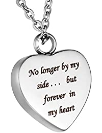 """HooAMI Cremation Jewellery """"No longer by my side... but forever in my heart"""" Memorial Urn Necklace Pendant for Ashes Keepsake, Engraving Service"""