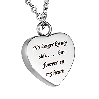 HooAMI Cremation Jewellery No Longer by My Side. but Forever in My Heart Memorial Urn Necklace Pendant for Ashes Keepsake, Engraving Service 41VBEhvqUFL