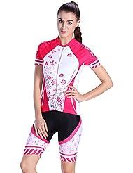 Asvert Maillots de Cyclisme Set à Manches Courtes et Cuissard avec 3D Gel Silicone Rembourrée Respirant Confortable pour Femme