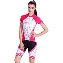 Asvert Malliot Ciclismo Mujer Corta Traje de Bicicleta Elásticp Ropa Bici de Lycra y Poliéster Ergonómico y Transipirable para Verano