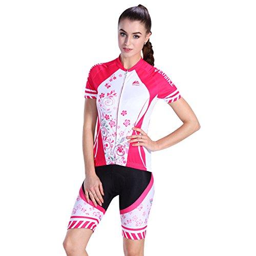 Asvert Frauen Kurzarm Radfahren Jersey Bekleidung Road Biking 3D Gel gepolsterte Shorts MTB Sportswear