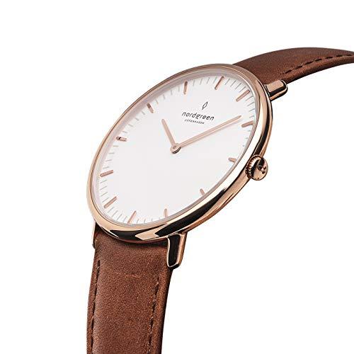 Nordgreen Native Skandinavische Klassische Uhr in Roségold Analog Quarzwerk 36mm (M) mit Lederarmband in Braun 10055