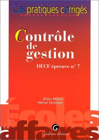 Le contrôle de gestion - DECF EP, numéro 7