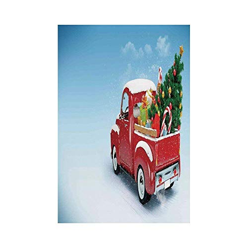 Liumiang Eco-Friendly Manual Custom Garden Flag Demonstration Flag Game Flag,Christmas,Red Classical Pickup Truck with Tree Gifts and Ornaments Snowy Winter Day Image Decorative,Blue Redoor décor (Ornaments Tree Valentine)