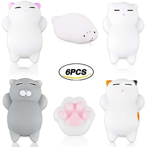mini kawaii miniaturas kawaii 6pcs suave Squishy Gato blando Squishy Kawaii linda lenta juguete de mano animal de levantamiento suave juguete suave (color al azar)