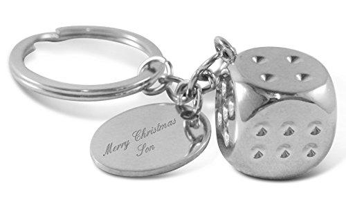 Luxury Engraved Gifts UK Merry Christmas Son Schlüsselanhänger Chrom Würfel personalisierbar mit bis zu 30 Buchstaben, ideales Geschenk Pi
