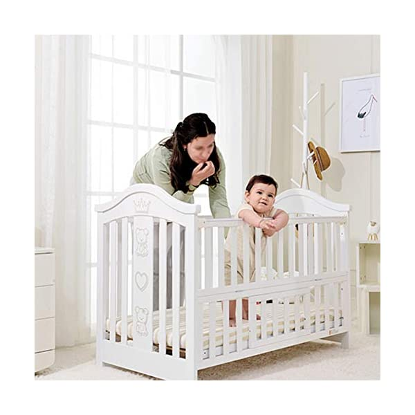 XUNMAIFLB Removable Toddler Bed, Wooden Baby Cot Bed, Crib, Solid Wood Splicing Bed, Cradle Bed (outer Diameter: 126.5 * 73.5 * 104cm/inner Diameter: 120 * 65cm) Safety XUNMAIFLB 6-12 months: The bed of the growing bed is adjusted to a safe depth of 2 blocks to protect the baby during the crawling period. 0-6 months newborn bed: 55.5cm scientific height, no need to deep bend, reduce spinal strain. More than 18 months: the sofa chair/teen bed sidebar removes the half-guard bed and cultivates the baby's ability to fall asleep independently. Can also be used as a sofa chair! 1