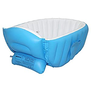 Baby Inflatable Bathtub by Lmeison, Portable Infant Toddler Non Slip Bathing Tub Travel Bathtub Thick Foldable Shower Basin (Blue)