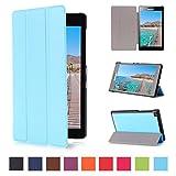 Lenovo Tab 2 A7-10 Hülle Etui Case - Hellblau Ultradünn Schutzhülle Tasche für Lenovo Tab 2 A7-10 (7 Zoll) Tablet SmartShell Cover mit Ständer (Hellblau)