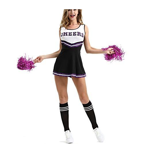 MEYOO Cheerleader-Kostüm für Damen, für High School Musical Uniform Fancy Dress,Black,S (Black Cheerleader Kostüm)