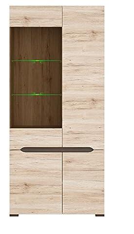 ELPASSO Modern Display Cabinet Glass Oak Body and Fronts 4-door Height: 200 cm