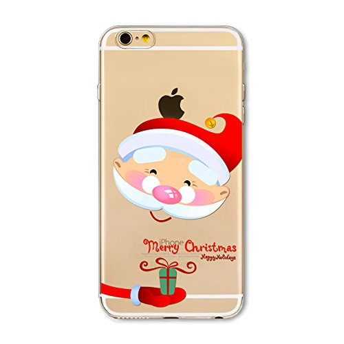 Weihnachten Hülle für iPhone 7 / iPhone 8 MOONMINI Ultra Dünn Weihnachten Dekoration Weiche TPU Silikon Full Body Schutz Rückseite Transparent Schutzhülle Shell für iPhone 7 / iPhone 8 Colorful Christ Santa Claus and Gift