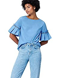 FIND Women's Nautical Frill Sleeve Blouse