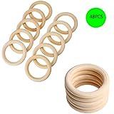 misscrafts sólido madera anillos aros, 48unidades para DIY Craft
