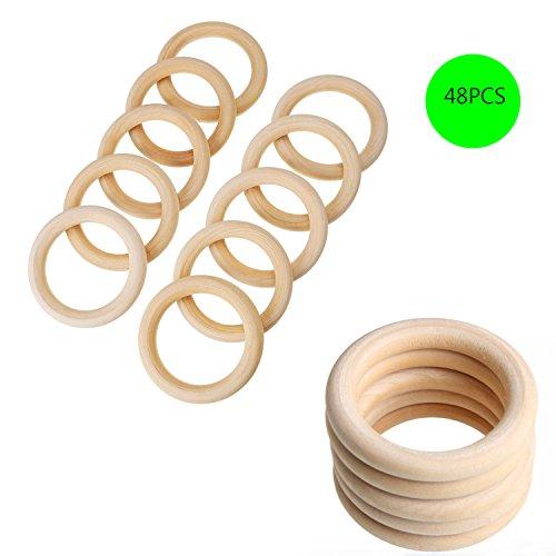 SuperHandwerk 48pcs Holzring 5.5cm Natur Holzringe Schmuck DIY Schmuckherstellung Armband Halskette Zubehör Gardinenring zum Basteln