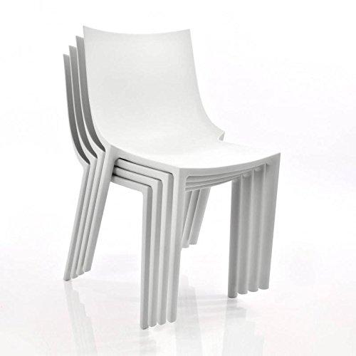 Driade BO - Ensemble de 4 chaises de Jardin, Blanc Mat 4 unités