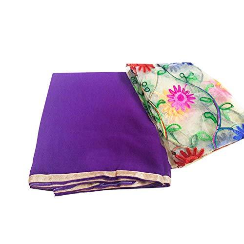 GreenViji Women\'s Chiffon Purple Saree With Net Blouse Piece