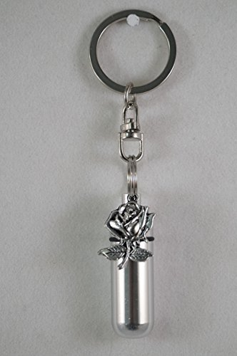Silver Rose - Cremation Urn Keepsake on Stainless Steel Swivel Key Chain - Includes Velvet Pouch and Fill-Kit by Pasco Specialty