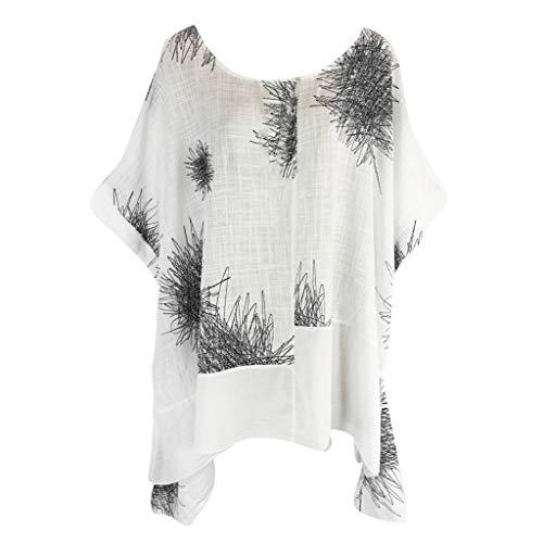 Kanpola Sommer Leinen Longbluse Damen GroßE GrößEn Gebatikt T-Shirts Casual Kurzarm Oberteile Ausgefallene Blusen