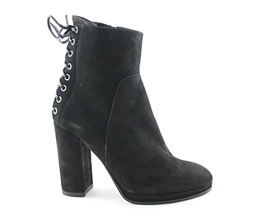 DIVINE FOLLIE 421741 nero scarpe stivaletti donna tacco cerniera lacci 37