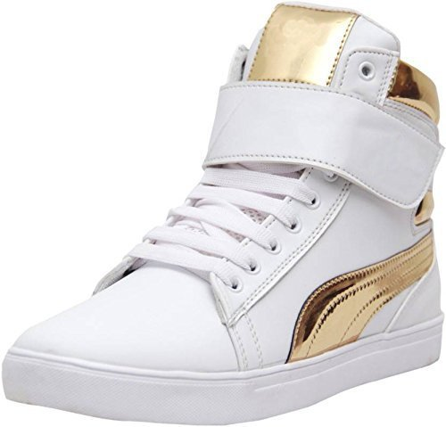 Rockfield Classic White-Gold Synthetic Leather Casual Shoes (7 UK)