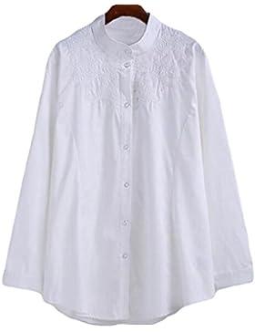 Primavera Patios Grandes Mujeres Cuello Alto Bordado En El Largo De La Manga Larga Que Basa La Camisa