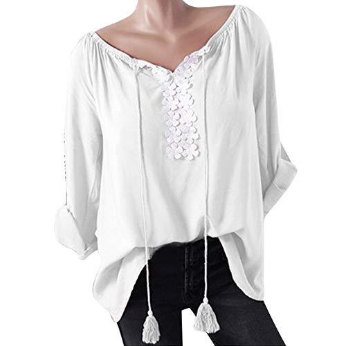 (Feitong Damen T-Shirt Frauen V-Neck Bluse Lange Ärmel Florale Spitze Splicing T-Shirt Tops Bluse(EU-46/CN-2XL, Weiß))