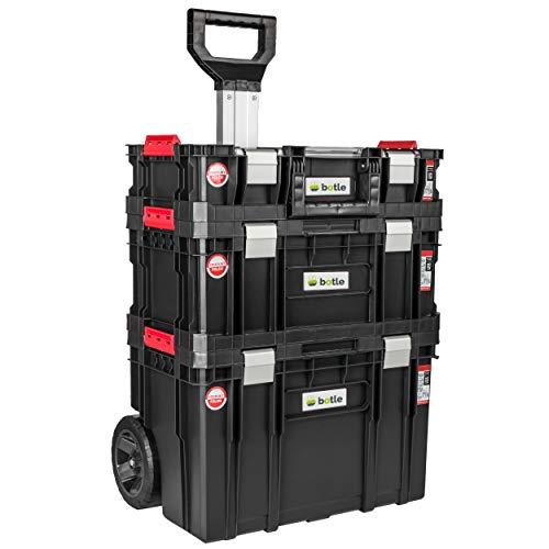 Caja de herramientas con ruedas, 3 cajas apilables, caja de herramientas, capacidad de carga de hasta...