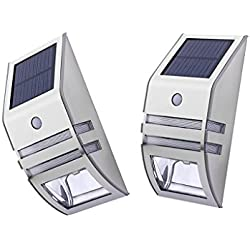MagiDeal 2pcs Solar LED Leuchten, Solarlicht mit Bewegungssensor Außenleuchten für den Garten Hof Balkon Zaun Terrasse Deck Fahrweg Treppen Nachtlicht
