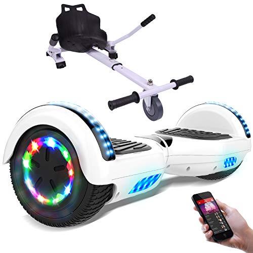 RCB Hoverboard 6.5 Pulgadas, Auto Equilibrio Patinete eléctrico, Ruedas de Luz LED, Bluetooth, Motor Brillante 700W (White)